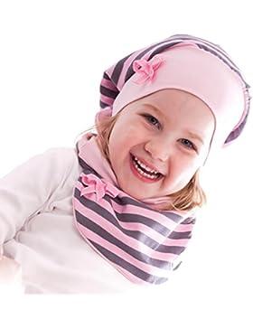 Scaldacollo / sciarpa grigio rosa a righe da bambina/ragazza - TAGLIO INNOVATIVO - Primavera/Autunno - GOLA E...