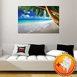 papier peint photo plage de sable avec des palmiers et la mer photo murale titr e plage. Black Bedroom Furniture Sets. Home Design Ideas