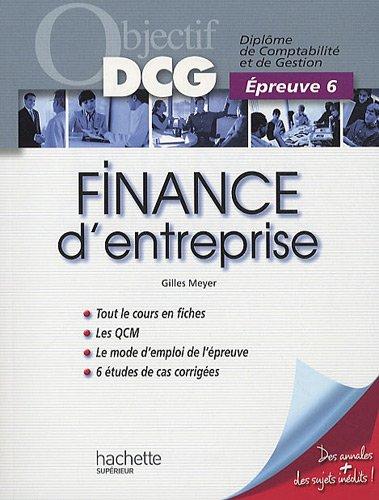 Finance d'entreprise : Epreuve 6