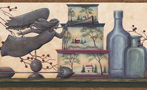 Chesapeake Engel Bücher Kerze Krug Boxen Beige modernen Tapeten Grenze Retro-Design, Roll-15' x 8'' (Grenzen Bücher)