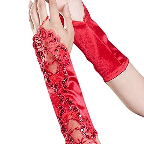 FakeFace Ellenbogen Länge Brauthandschuhe Satin Fingerlos Handschuh mit Spitze und Pailletten Party Abendhandschuhe Frühling Sommer Herbst Winter