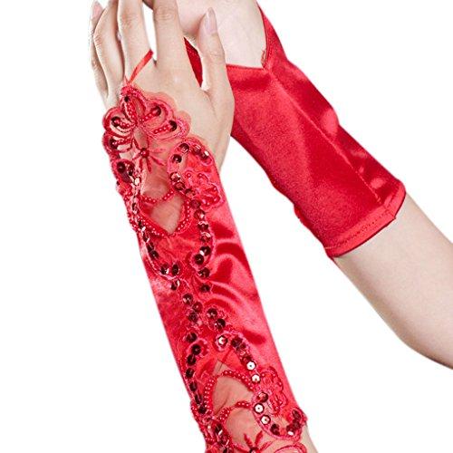 FakeFace Ellenbogen Länge Brauthandschuhe Satin Fingerlos Handschuh mit Spitze und Pailletten Party Abendhandschuhe Frühling Sommer Herbst Winter (Dress Und Fancy Sport Kostüme Accessoires)