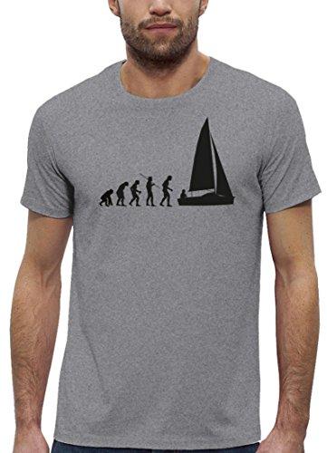 Segeln Premium Herren T-Shirt aus Bio Baumwolle Evolution Segler Marke  Stanley Stella Heather Grey