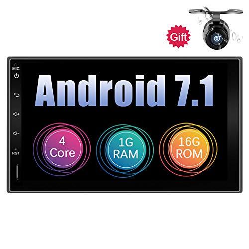 Eunavi Double Din Quad Core 7 Zoll Android 7.1 1G + 16G Universal-Autoradio mit Bluetooth 2 Din im Dash-Auto GPS-Navigation Voller Touchscreen-Autoradio WiFi-Modell Kostenlose Kamera