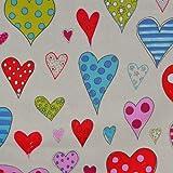 Tela corazones 'los grandes corazones' - color crudo (color de fondo) - 100% algodón suave | ancho: 160cm (1 metro)