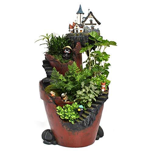 ncyp Fairy Garden Miniatur Broken Eimer Blumentopf Sweet House Cottage Vertikal Skulptur Übertopf grau für Dekoration keine Pflanzen, Kunstharz, Cliff castle, L