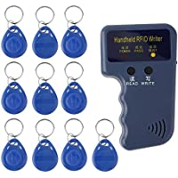 Portátil De Mano 125 KHz EM4100 RFID Writer Copiadora Duplicador Azul Programador Lector + 10 Unids EM4305 Reescribible ID Llaveros Etiquetas Tarjeta.