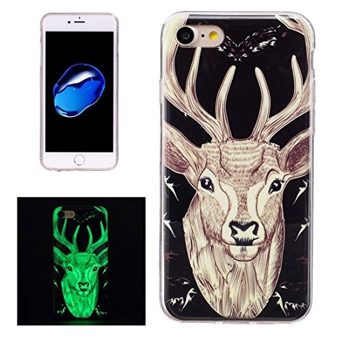 iPhone Case Cover Pour iPhone 7 Noctilucent Plum Pattern IMD Workmanship Soft TPU Back Cover Case ( SKU : Ip7g1672b ) Ip7g1672m