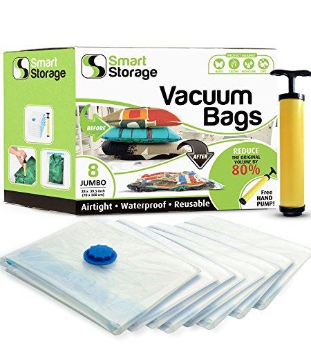 Kompakt-staubsauger Ersatz Tasche (8-Pack Jumbo platzsparende Vakuum-Aufbewahrungsbeutel Set | Handliche Vakuum-Beutel mit Pumpe für unterwegs | Aufbewahrungsbeutel für zuhause & unterwegs | Wiederverwendbare Vakuum-Beutel | Luftdicht)