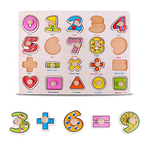 Inpher Wooden Jigsaw Puzzle, 4 Packs Wooden Puzzle of Alphabet/Number/Graph and Wooden Tetris Puzzle, Educational Puzzle Toys, Brain Teaser Toys Tangram Block Building Game for Kids