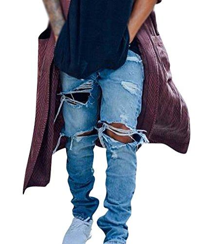 Brinny Streetwear Délavé Used Pantalons denim Trous au genou Destroyed Inside zipper Déchiré Biker Jeans pour Homme Bleu Bleu