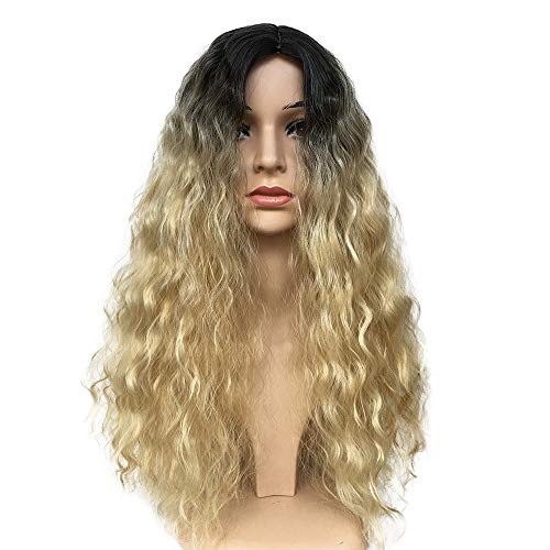 High Quality Women Sexy Black Blonde Gold Gradient Wig Synthetic Hair Wild-Curl Wavy Wigs Long Size Curly Wig For Party Club Costume Show