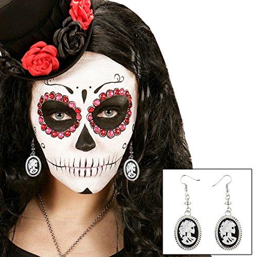 Skull Kostüm Für Erwachsenen Sugar - NET TOYS Kamee Totenkopf Ohrringe Sugar Skull Ohrstecker Tag der Toten Ohrhänger Dia de los Muertos Damenohrringe