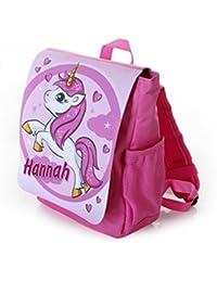 Preisvergleich für Kinderrucksack Motiv: Einhorn für Mädchen in pink individuell mit Name Bedruckt, ideal für Kita/Kindergarten Kindergartenrucksack