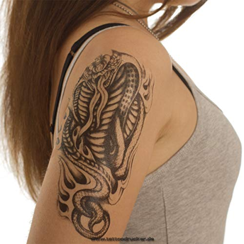 2 x Cobra Schlangen Tattoo - Schwarzes Body Temporary Fake Tattoo - AX94 (2) -