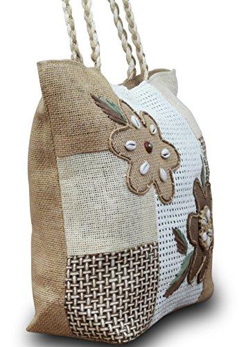 Strandtasche Einkaufstasche Ibiza Shopper Leinen Strandtasche, Modell:Modell 2 Modell 2