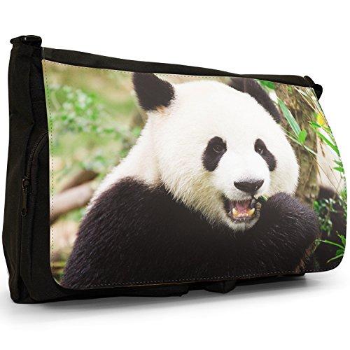 Panda Grande borsa a tracolla Messenger Tela Nera, scuola/Borsa Per Laptop Panda Bear Chewing Bamboo