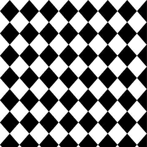 aaloolaa schwarz und weiß Mosaik Muster Tapete Foto Shooting Hintergrund 1,5x 1,5m Fotografie Artistic Hintergrund dekorative Party, Boden Requisiten Video Studio Erwachsene Mädchen Jungen Kid Baby Neugeborene Hochformat