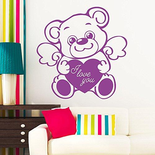 """Wandtattoo Loft """"Teddy mit Flügel, Herz und Text """"I Lov you""""""""- Trecker - Wandtattoo / 49 Farben / 3 Größen / lindgrün / 55 x 56 cm (Panda 233)"""
