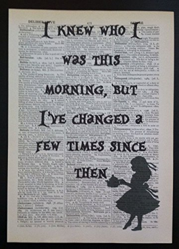 Alice im Wunderland Zitat Print Vintage Wörterbuch Seite Bild Wand Kunst Geschenk (Vintage Poster Kunst Original)