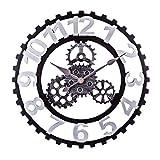 H0_V Reloj Pared Grande,50cm Reloj de Pared del Engranaje Reloj Pared Vintage Grande Reloj Pared silencioso - Plata