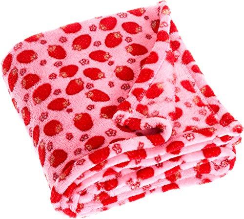 Playshoes Baby und Kinder Fleece-Decke, vielseitig nutzbare Kuscheldecke für Jungen und Mädchen, 75 x 100 cm, mit Erdbeeren-Muster -