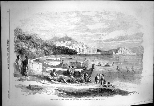 old-original-antique-victorian-print-lazzaroni-shore-bay-naples-s-read-fishermen-nets-boat-1856-709j
