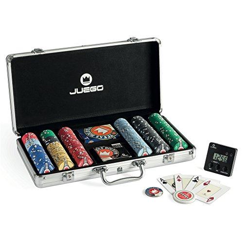 Juego Set de poker con 300 fichas Pro Cerámica, incluye dealer, cartas Texas Hold'em y timer (ITA Toys JU00384)