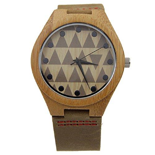 Malloom®Nueva llegada moda bambú de madera cuero de la PU relojes lujo hombres regalo (estilo 1)