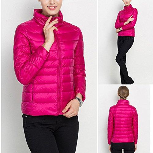 Laixing Alta qualità Women's Packable Stand Collar Ultra Light Weight Short Down Jacket Women Coats Red