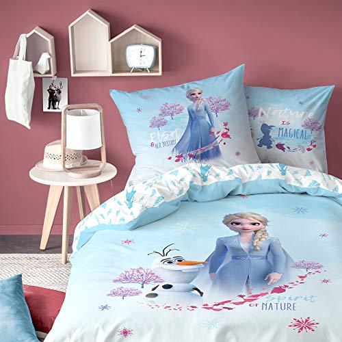 Disney Parure de lit Enfant 100% Coton La Reine des neiges 2 - Housse de Couette + Taie d'oreiller