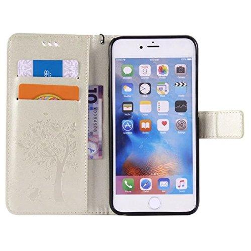iPhone 6S Plus Coque, iPhone 6 Plus Coque, Lifeturt [ Blanc ] Coque Dragonne Portefeuille PU Cuir Etui en Cuir Folio Housse, Leather Case Wallet Flip Protective Cover Protector, Etui de Protection PU  E02-Blanc