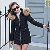Hunputa Women's Down Coat Down Jacket with Removable Faux Fur Trim Hood