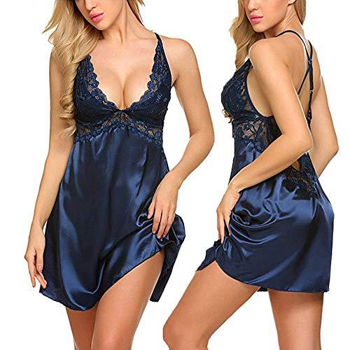 Damen Sexy Klassische Bequem Satin Spitze Nachtwäsche V Ausschnitt Babydoll Nachtkleid Kleid Lingerie Dessous Sleepwear Sleepshirt (M, Blau)