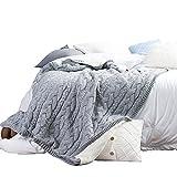 VClife Kuscheldecke Wohndecke Strick Decke Baumwolle Polyester Überwurf Bett Sofa Schlafzimmer Wohnzimmer Büro Umhang Warm Sanft 130 x 160cm Grau