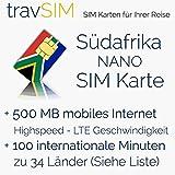SIM Karte für Südafrika - Nano SIM + 500MB mobilem Internet Datenvolumen für 30 Tage + 100 Minuten für internationale Anrufe in 34 Länder