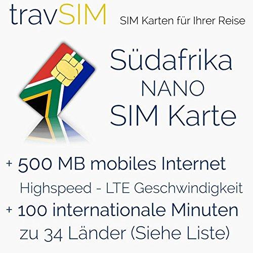 SIM Karte für Südafrika - Nano SIM + 500MB mobilem Internet Datenvolumen für 30 Tage + 100 Minuten für internationale Anrufe in 34 Länder (Sim-karten Kostenlos)
