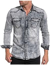 BLZ jeans - Chemise jogg jean grise délavage clair mode