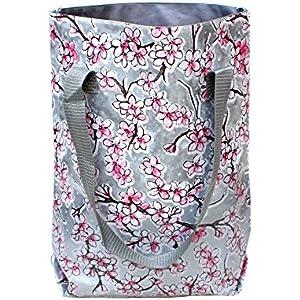 wasserabweisender Shopper - Beutel - Einkaufsbeutel - Badetasche - Tote bag aus Wachstuch Hanami silber
