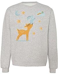 Super Cute Deer Helping Bunny To Reach Carrot Design Sudadera Unisex