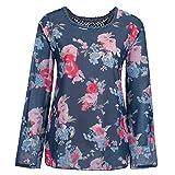 Damen Langarm Shirt, FGHYH Damen Langarm Blumendruck Spitze Casual Tops T-Shirt Lose Bluse(XXXXXL, Marine)