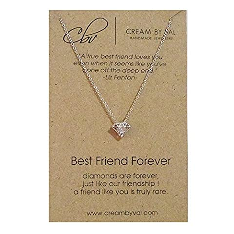 Best Friend Forever Silver Diamond Necklace - 17'' Length