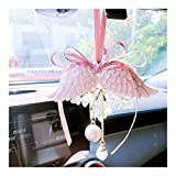 7°MR wind chimes Ciondolo for auto Angelo ala Aromaterapia Auto Ciondolo specchio for specchietto Ali d'angelo Tono acqua Campana Rosa Ragazza Cuore