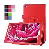 Asus ZenPad 8.0 Z380C Hülle, TOTOOSE Litchi Getreide PU Leder Flip Folio Hüllenabdeckung Hautschutz mit Stundfunktion und Magnetverschluss Zum Asus ZenPad 8.0 Z380C Rot