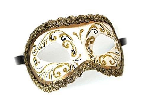 Unbespielt Handarbeit Original Venezianische Maske Damen Colombina Decor Era Gold Weiss