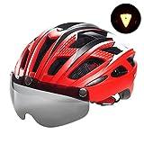 Fahrradhelm mit abnehmbaren Magnet-Schutzbrille mit Visier für Frauen und Männer. Helme von Victgoal für Mountainbike & Rennrad, verstellbar, Sicherheitsschutz für Erwachsene und atmungsaktiv, new red
