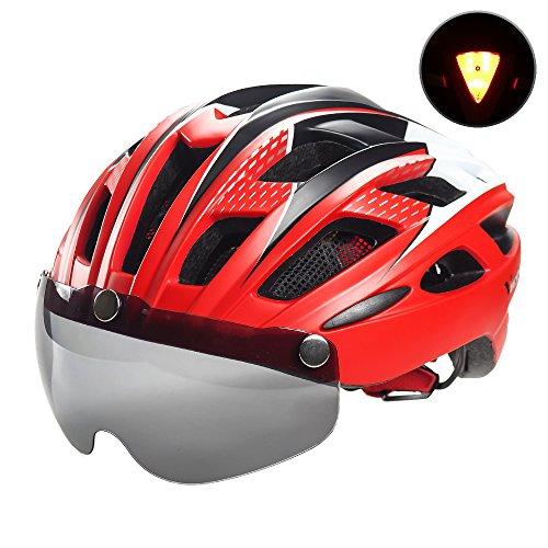 Ciclo bicicleta casco con gafas magnética desmontable visera Shield para mujeres hombres, victgoal ciclismo montaña y carretera bicicleta cascos ajustable adulto seguridad protección y transpirable (New Red)