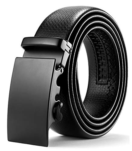 l Ratsche Automatik Gürtel für Männer 35mm Breit Ledergürtel, Schwarz 112, Länge: Bis zu 49,21 Inches (125cm) ()