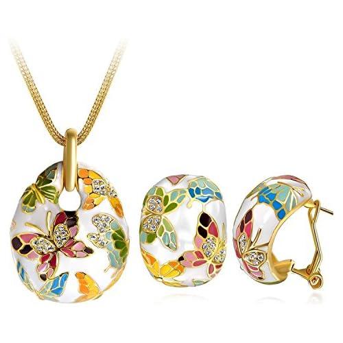 P&m Versailles Spring Enamel Butterfly Jewellery Set