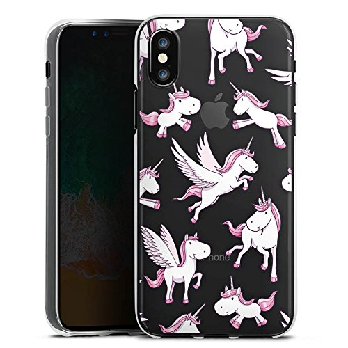 Apple iPhone X Silikon Hülle Case Schutzhülle Transparent mit Muster Fliegendes Einhorn Unicorn Silikon Case transparent